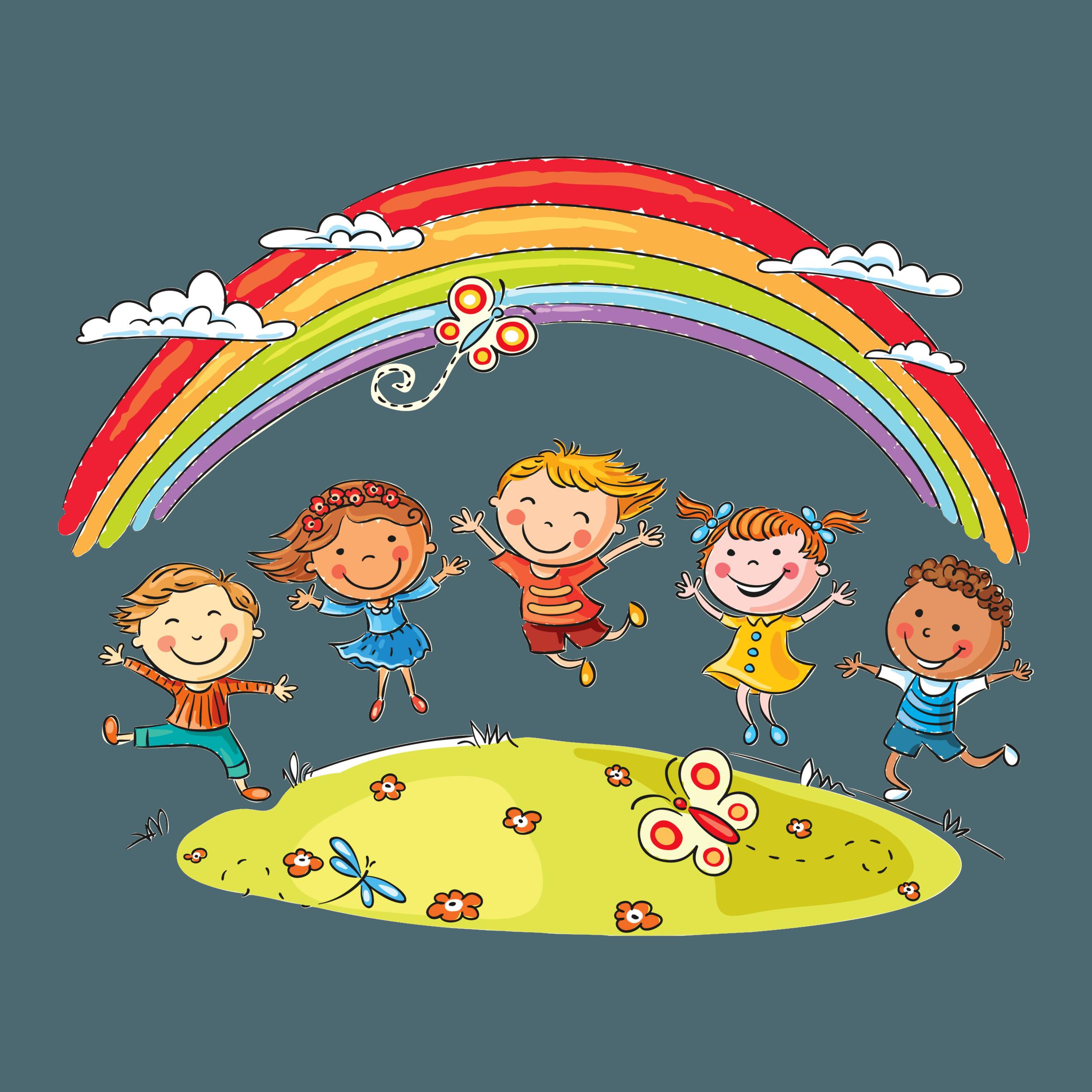 Enfants qui jouent sous un arc en ciel